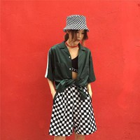 Hot Shorts Hot Retro Style Black White Checkerboard  Fashion Street Women INS 3 Colors Harajuku Hiphop Street CottonAT_43_3