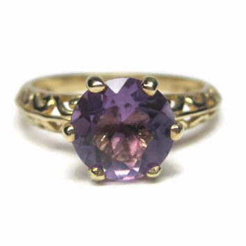 Vintage 90s 10K Filigree Amethyst Solitaire Ring Size 7