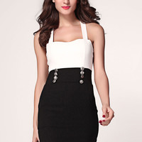 Black White Shoulder Strap Dress with Button Embellishment
