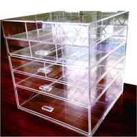 """Cq acrylic Large 5 Drawers and 11 Grids Acrylic Makeup Organizer 10""""x10""""x11"""",Pack of 1"""