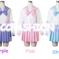 Girl Long Uniform Dress Japanese Japan School Cosplay Costume Anime Lady Lolita