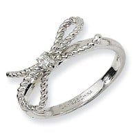 Cheryl M Sterling Silver Fancy Bow CZ Ring