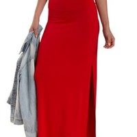Red Double Slit Maxi Skirt by Charlotte Russe