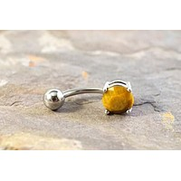 Tiger Eye Silver Belly Button Ring