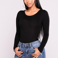 Running To You Long Sleeve Bodysuit - Black