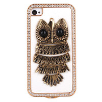 Cool Golden Owl Rhinestone Hard Cover Case For Iphone 4/4s/5