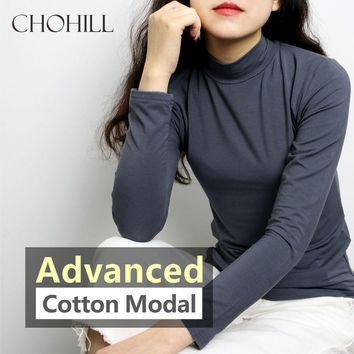 2017 CHOHILL 11 Color S-3XL Plain Turtleneck Pullover Women Modal Elastic Basic T-shirts Female Casual Tops Long sleeves T-shirt
