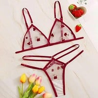 Embroidered Mesh Cut-out Sheer Lingerie Set