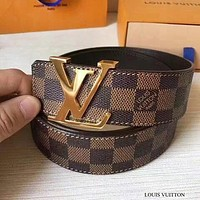 Louis Vuitton LV Fashion Hot Sale Women Men Smooth Buckle Leather Belt