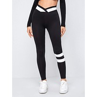 SHEIN Overlap Waist Striped Detail Leggings