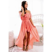 Fly Me To Paradise Lace Ruffle Raxi (Coral)