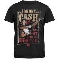 Johnny Cash - Hot Blue Guitar Black T-Shirt