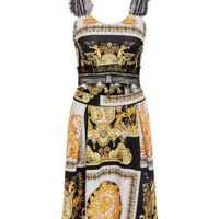 Versace Printed Lace Stitching Backstrap Top + Half-length Skirt Two-piece Set