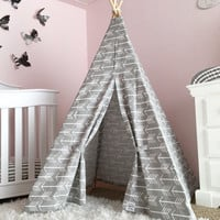 Beautiful Teepee Tents in Grey Arrow Canvas for Magical Childhood Memories