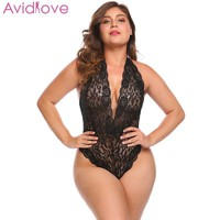 Avidlove Women Plus Size Bodystocking Sexy Costumes Sexy Lingerie Lace Halter Bodysuit Night Mesh Transparent lenceria