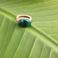 Chrysocolla copper ring - Blue and green gemstone ring - size 6 1/2 - wire wrapped - chunky ring - cocktail ring -
