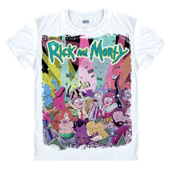 Tight Clothing Rick and Morty Male T-Shirts Summer Short Sleeve Casual Man Women Shirt Cheap Clothes Round Neck Tees Top