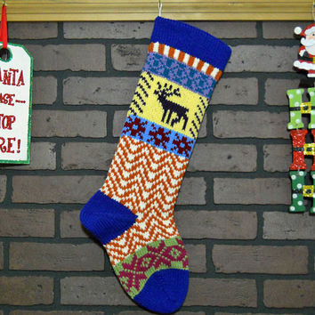 Blue Christmas Stocking, Hand Knit with Purple Deer, Fair Isle Knit, Can be Personalized, Whimsical Stocking, Housewarming Gift, Baby Gift