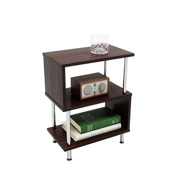 Bestier Side Table 3 Tier S-Shaped, Small Nightstand Bedside Table End Table with Storage Shelves for Bedroom, Sofa Table Coffee Table, Modern Design, Easy Assemble and Sturdy Brown