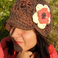 Newsboy Cap with Flower AutumnYou pick size by SoLaynaInspirations