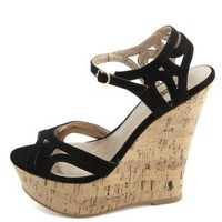 Strappy Cut-Out Peep Toe Wedge Sandals by Charlotte Russe - Black