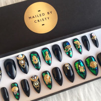 Black Glass Egyptian Inspired Stiletto Press On Nails | Glass Nails | Fake False Glue On Nails | Egypt Nail Art Design