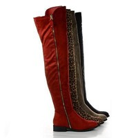Paulina1 By Liliana, Zip Up Thigh High Faux Suede Boots