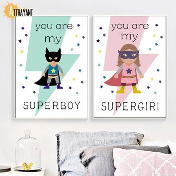 Superhero Boy Girl Star lightning Nordic Posters And Prints Wall Art Canvas Painting Wall Pictures Baby Kids Room Nursery Decor