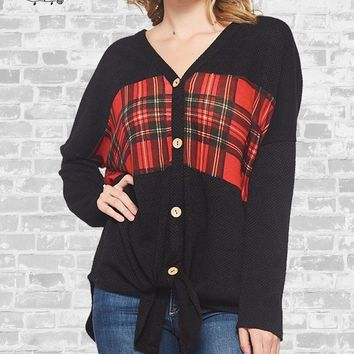Plaid Tie Front Top - Black - S, M, XL, 1X & 2X