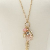 Paris, Flower & Feather Charm Necklace by Charlotte Russe - Lt Pink