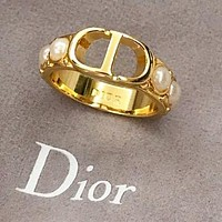 DIOR Women Chic Pearl CD Alphabet Ring Accessories Jewelry
