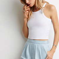 Knife-Pleated Denim Shorts