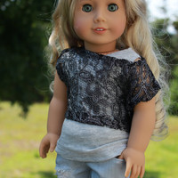 grey tank top,silver lace off the shoulder tee and light grey ripped skinny jeans, 18 inch doll clothes, american girl, Maplelea