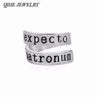 QIHE JEWELRY Expecto Patronum Ring Magic Book Inspired Twist Geeky Ring Hand Stamped Letter Women Men Jewelry Gift anillo anello