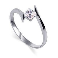 Nickel Free Sterling Silver Princess Cut 5mm Clear Cubic Zirconia Polished Finished 2mm Band Promise Ring Size 7