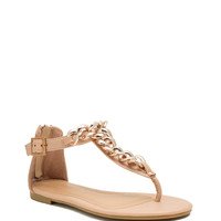 Chain Trimmed T-Strap Sandals
