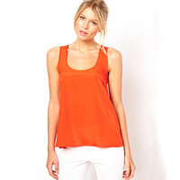 Women Loose Red Sexy Round Necked Women Tank Top a10789