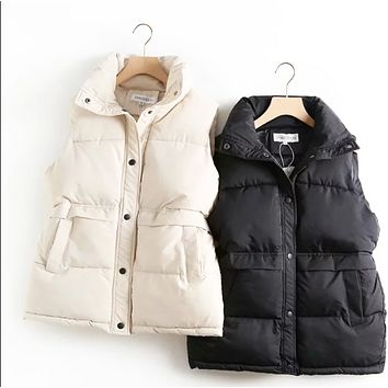 Explosion style hot sale fashion double pocket mid-length simple vest