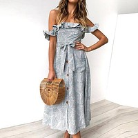 Beach Dress Women Casual Elegant Casual Party Dresses Ruffles Off Shoulder Bow Vintage Long Dress