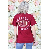 "Arkansas Hog through ""A"" Football Short Sleeve Tee {Chili Pepper} - Size SMALL"