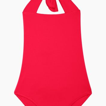 Layla Open Back One Piece Swimsuit (Kids) - Cherry Red