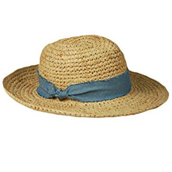 Hat Attack Women's Raffia Crochet Sun Hat Natural Chambray One