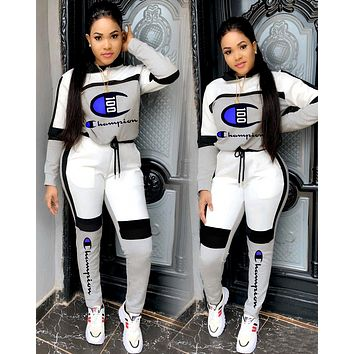 Champion Women Fashion Casual Multicolor Letter Pattern Print Long Sleeve Trousers Set Two-Piece Sportswear