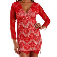 Red Combo Long Sleeve Bodycon Lace Dress by Charlotte Russe
