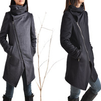 Black Swan - asymmetrical quilted cashmere wool coat / lined wool jacket cashmere / zipper thermo jacket (Y5130)