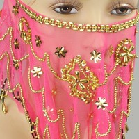 BellyLady Belly Dance Tribal Face Veil With Beads, Christmas Costume Gift Idea