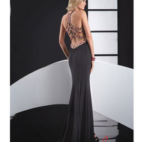 Jasz Couture 2014 Prom Dresses - Black Jersey & Multicolour Bead Prom Gown