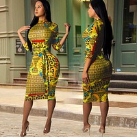 Women Long Sleeve Print Dress  yellow