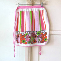 Striped Vintage Mod Apron; Pink & Green Pear/Flower/Ladybug Graphic Print Terry Cloth Half Apron; U.S Shipping Included