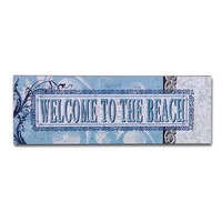 """Decorative Wall Sign Plaque """"Welcome To The Beach"""" Blue Gray Home Decor"""